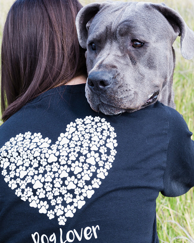 Pawz White Heart Dog Lover Print Black Long Sleeve - Pawz