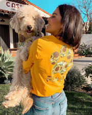 Long Sleeve Gold Sunflower Print - Pawz