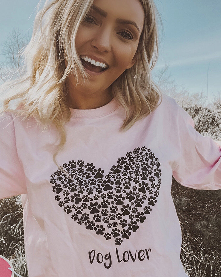 Pawz Light Pink Paw Heart Dog Lover Front Long Sleeve - Pawz