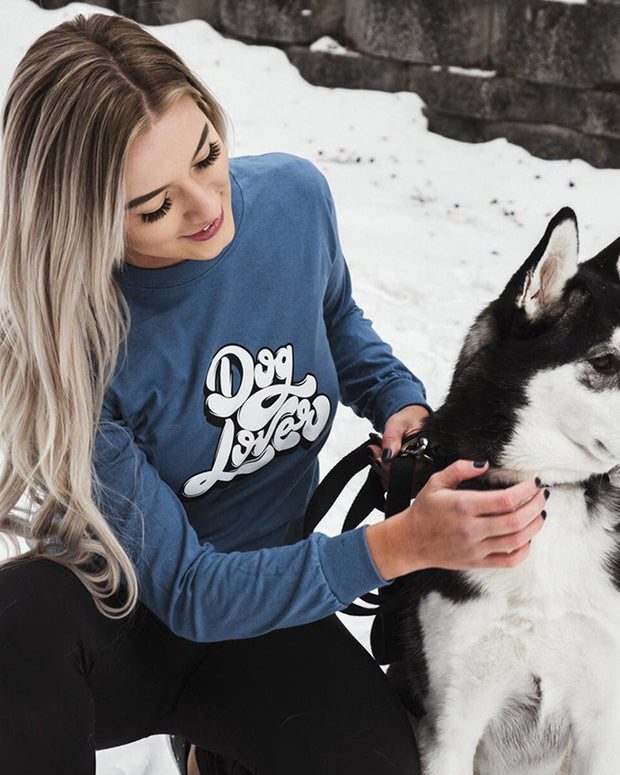 Pawz Dog Lover Front Print Indigo Long Sleeve - Pawz