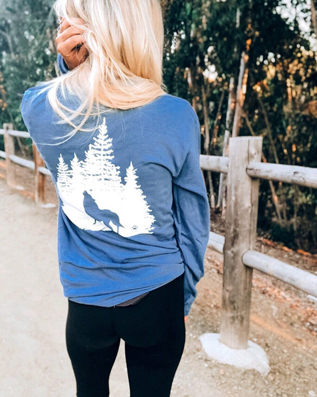 Long Sleeve Indigo Wolf Forest White Print - Pawz