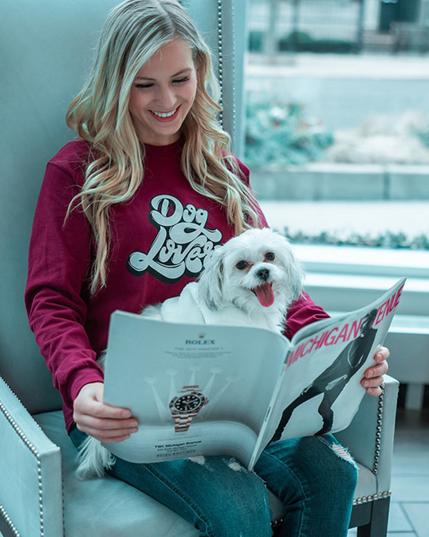 Long Sleeve Maroon Dog Lover Front Print - Pawz