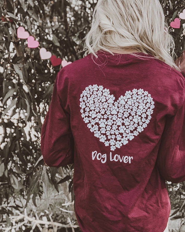 Long Sleeve Maroon White Paw Heart Dog Lover Print - Pawz