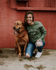 Long Sleeve Olive Saving Dogs is Cool Front Print - Pawz