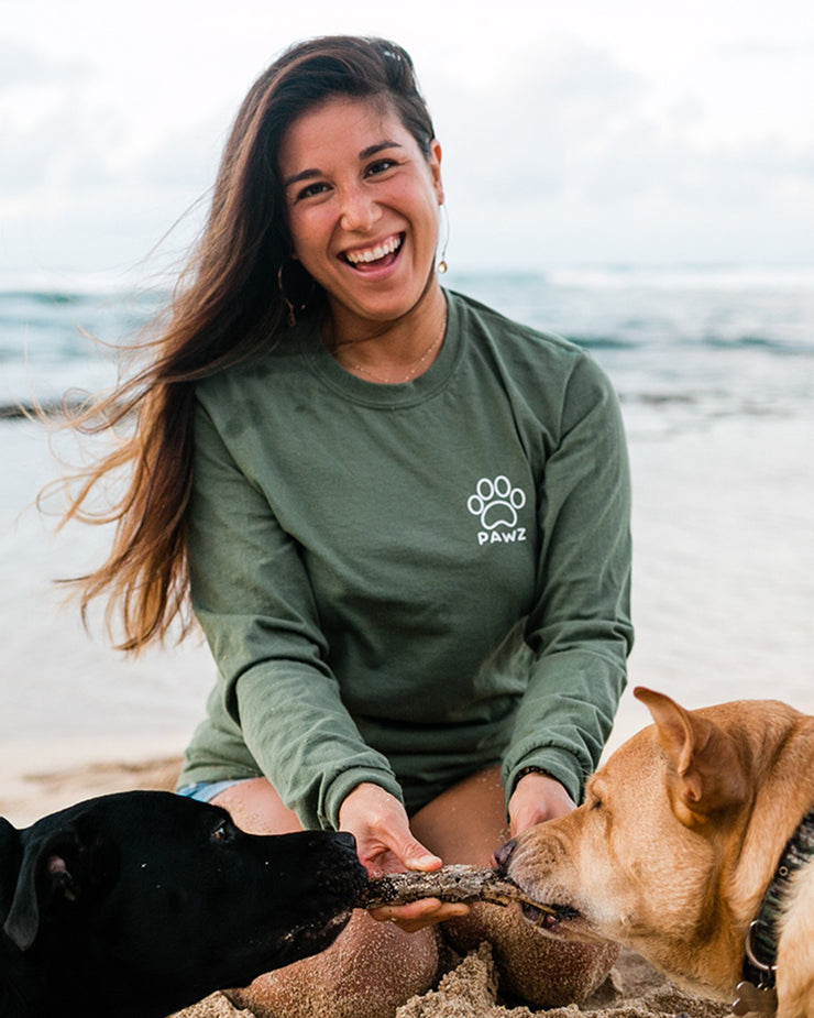 Long Sleeve Olive Wolf Forest Print - Pawz