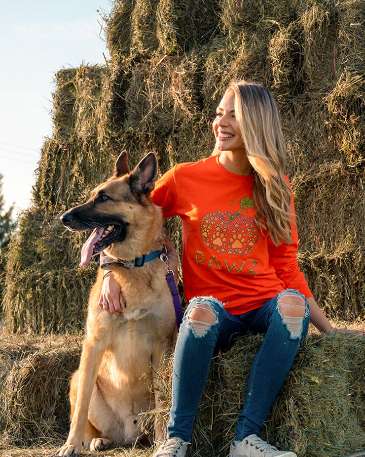 Tiny Pawz Pumpkin Orange Long Sleeve (Front Print) - Pawz