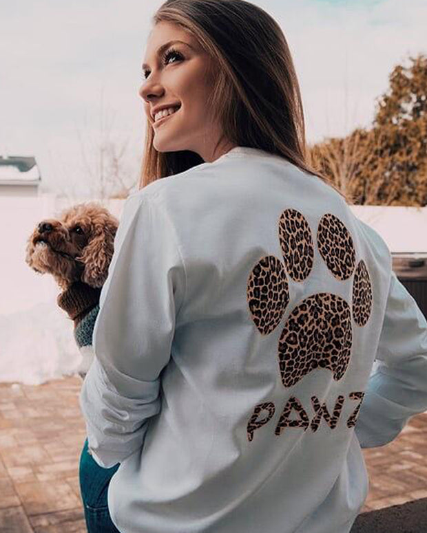 Pawz Cheetah Print White Long Sleeve - Pawz
