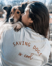 Pawz Red Saving Dogs is Cool Back Print White Long Sleeve - Pawz