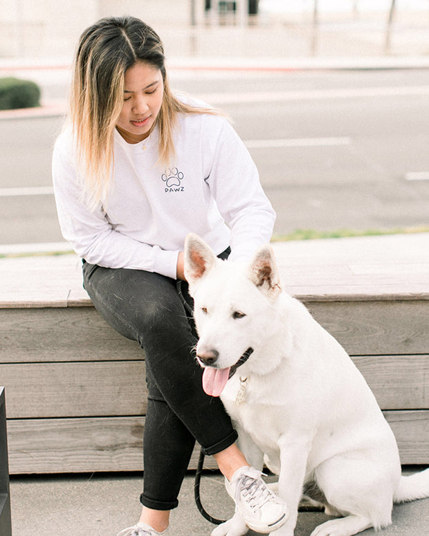 Long Sleeve White Saving Dogs is Cool Red Back Print - Pawz
