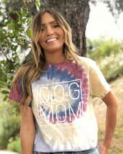 Lotus Tie Dye Simple Dog Mom White Print Tee - Pawz