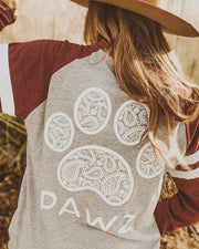 Pawz Maroon Game Day Paisley Print Long Sleeve - Pawz
