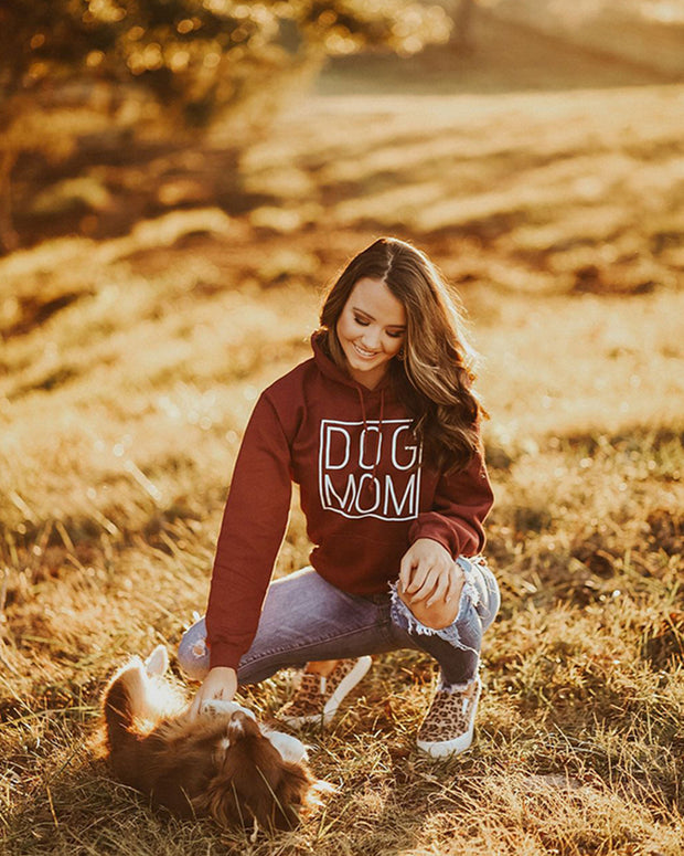 Maroon Simple Dog Mom Hoodie - Pawz