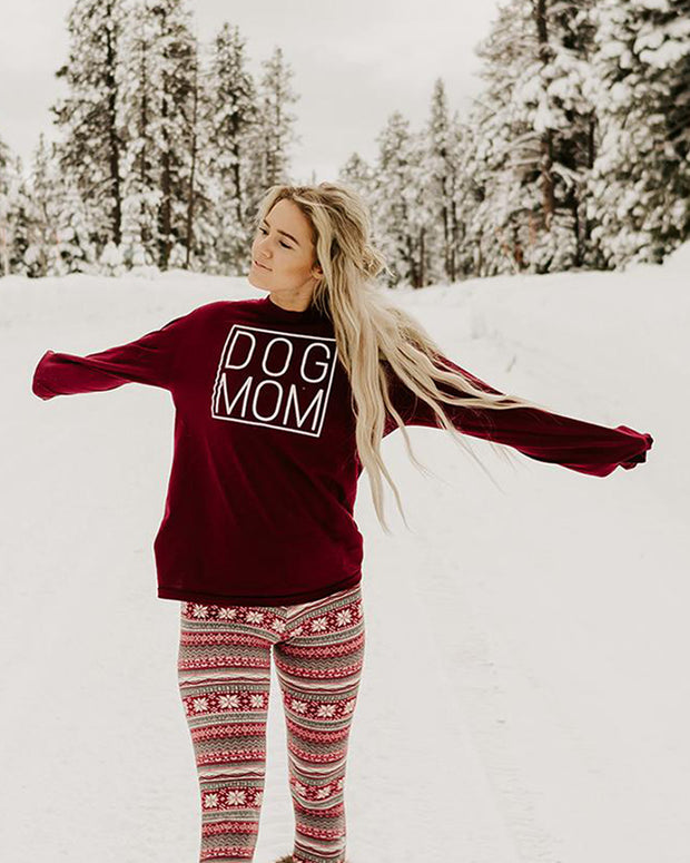 Pawz Simple Dog Mom Maroon Long Sleeve - Pawz