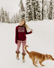 Maroon Simple Dog Mom Long Sleeve - Pawz