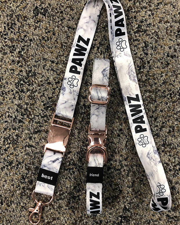 Pawz Matching White Marble Dog Collar + Lanyard - Pawz