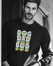 Men's Black Dog Dad Bod Front Print Long Sleeve - Pawz