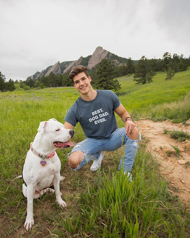 Men's Charcoal Best Dog Dad Ever White Print T-Shirt - Pawz