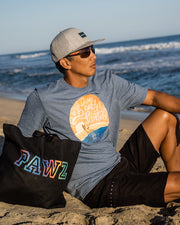 Pawz Men's Dogs Beach & Sunsets Heather Indigo Tee - Pawz