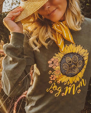 Pawz Sunflower Dog Mom Olive Long Sleeve - Pawz