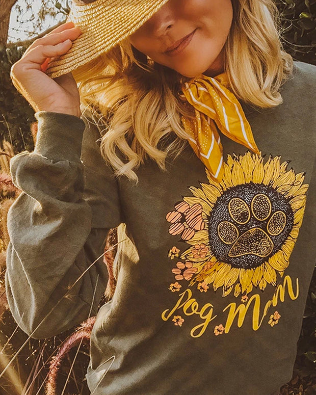 Olive Sunflower Dog Mom Long Sleeve - Pawz
