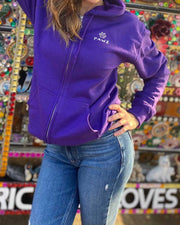 Pawz Watercolor Skull & Bones Purple Zip Up Hoodie - Pawz