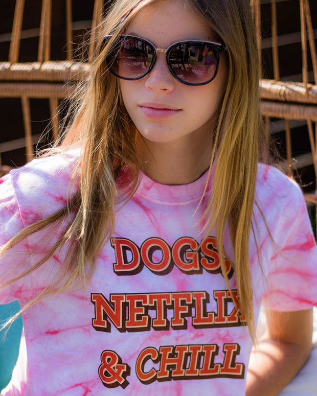 Pawz Coral Tie Dye Dogs Netflix & Chill Short Sleeve Tee - Pawz