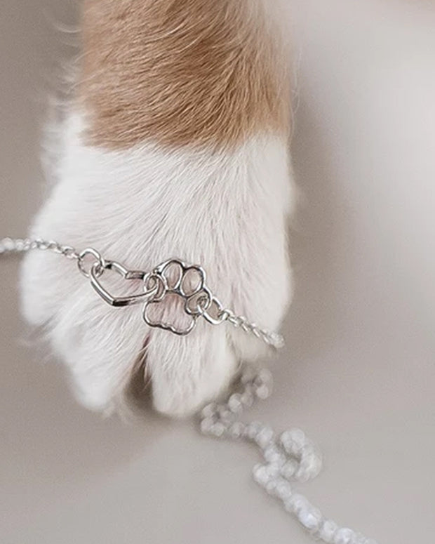 Pawz Interlocked Heart and Paw Necklace - Pawz
