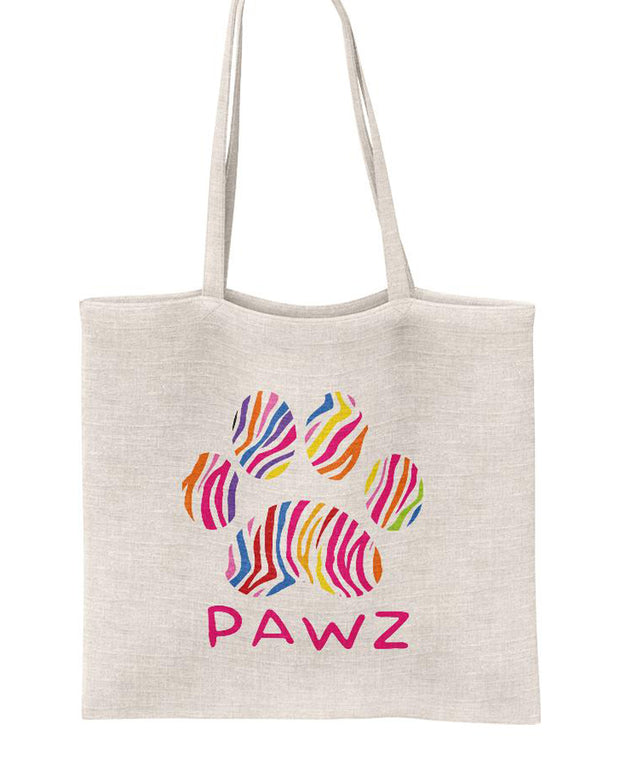 Pawz Mystery White Colorful Zebra Stuffed Tote - Pawz
