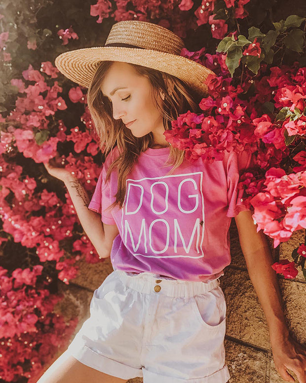 Pawz Pink Ombré White Simple Dog Mom Tee - Pawz