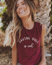 Pawz Saving Dogs is Cool Maroon Muscle Tank - Paws