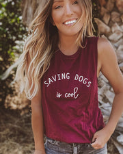 Pawz Saving Dogs is Cool Maroon Muscle Tank - Pawz