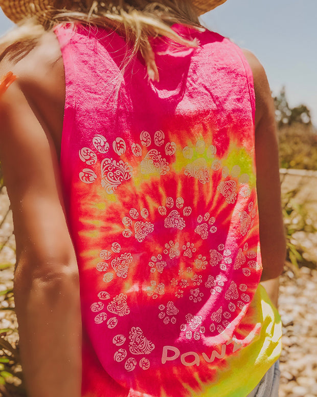 Pink Lemonade Tie Dye Open Swirly White Print Tank Top - Pawz