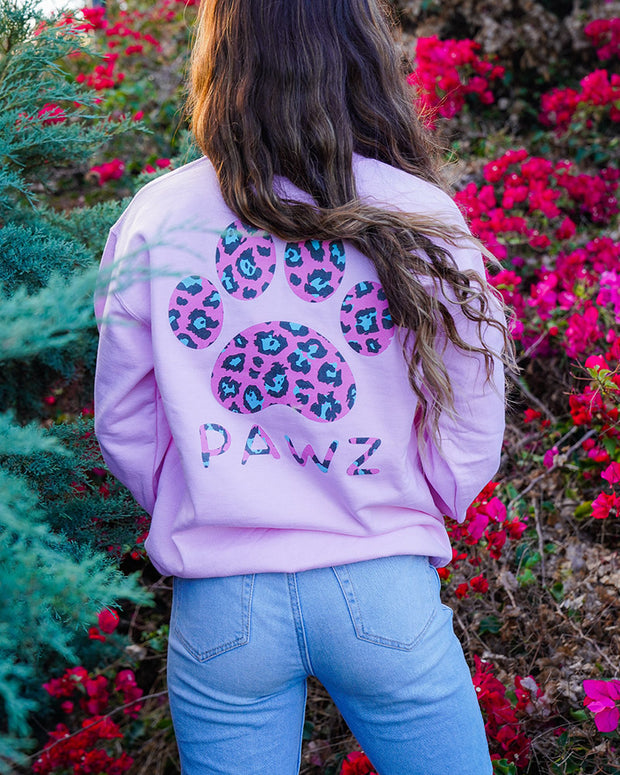 Pawz Pink Cheetah Print Light Pink Crewneck - Pawz