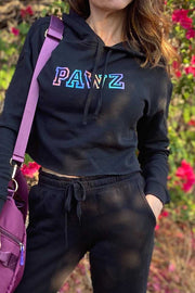 Pawz Rainbow College Black Crop Hoodie - Pawz