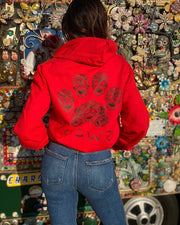 Pawz Sugar Skull Red Zip Up Hoodie