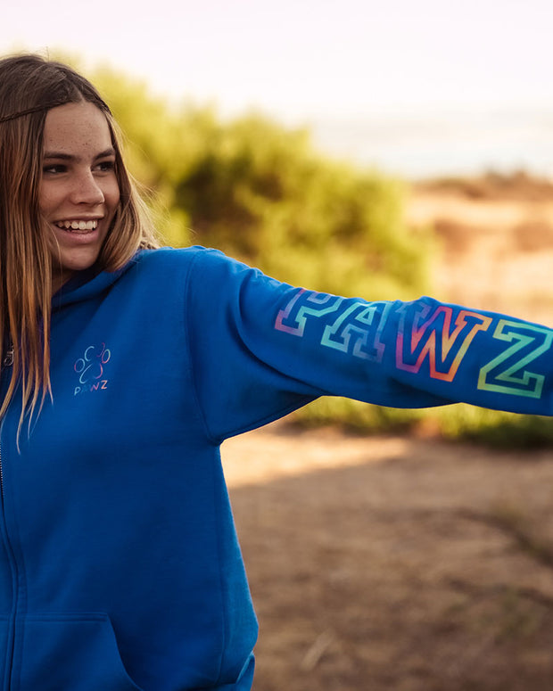 Pawz Rainbow Varsity Royal Zip Up - Pawz