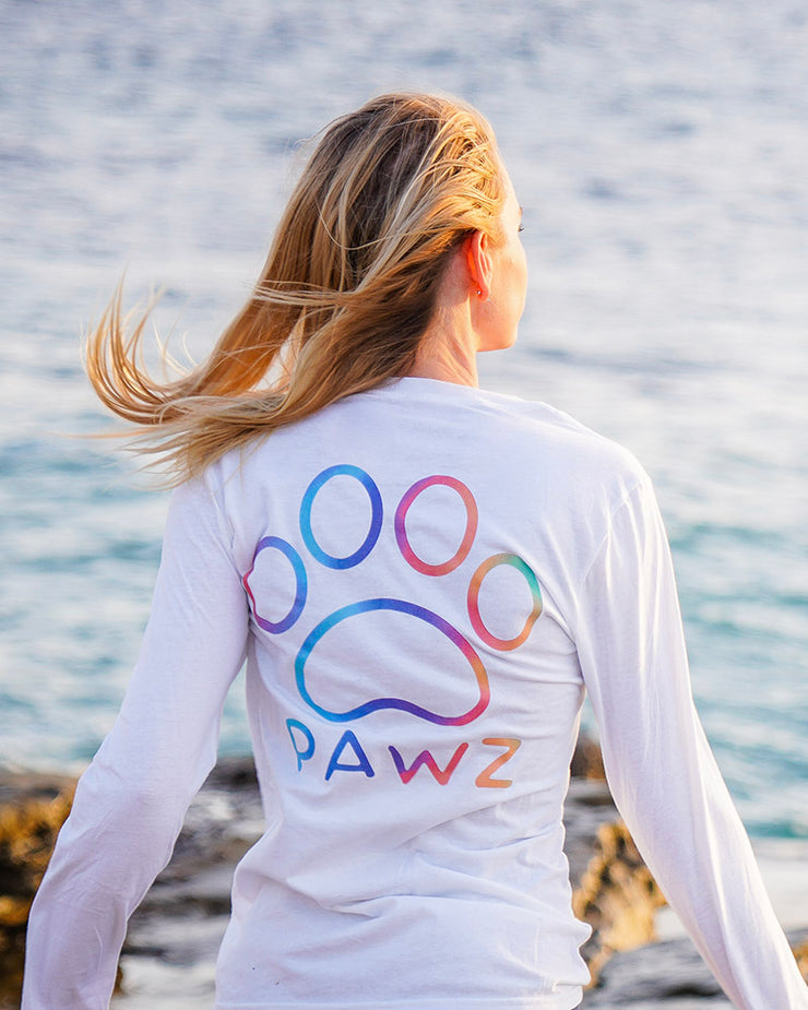 Pawz Rainbow Classic White Lightweight Long Sleeve - Pawz