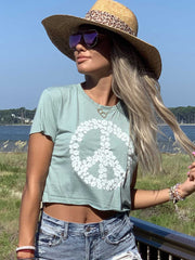 Pawz Stone Green Peace Sign Crop - Pawz