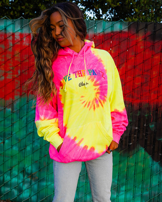 Save the Pawz Club Pink Lemonade Tie Dye Hoodie