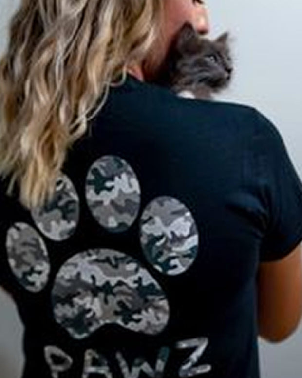 Short Sleeve Black and White Camo Tee - Pawz
