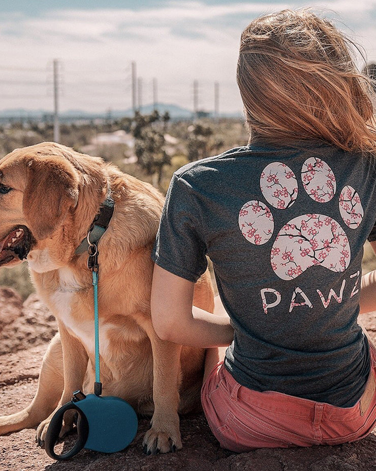 Short Sleeve Charcoal Cherry Blossom Print - Pawz