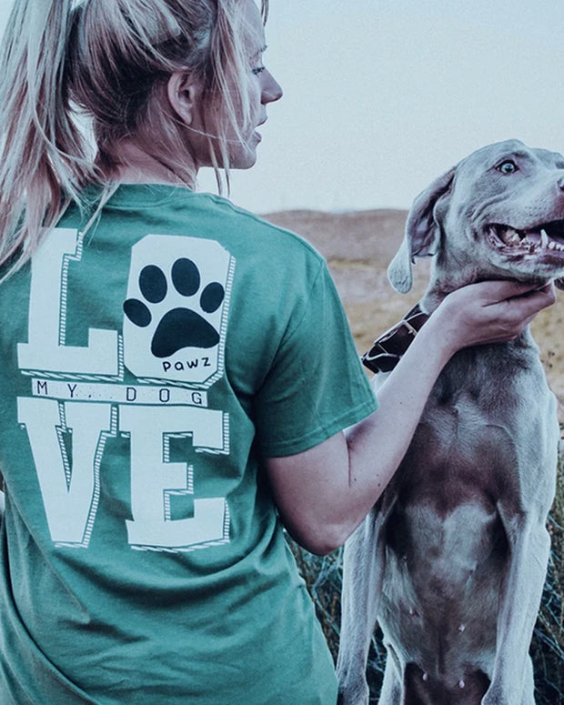 Short Sleeve Olive Love My Dog Print - Pawz