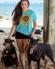 Short Sleeve Turquoise Sunflower Dog Mom Front Print - Pawz