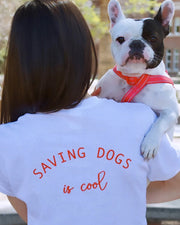 Short Sleeve White Saving Dogs is Cool Red Back Print - Pawz