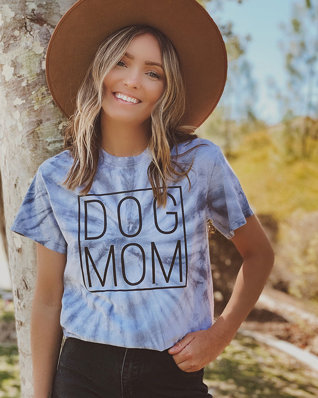 Pawz Silver Tie Dye Simple Dog Mom Black Print Tee - Pawz