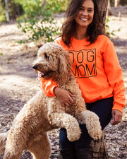 Pawz Simple Dog Mom Black Print Neon Orange Crewneck - Pawz