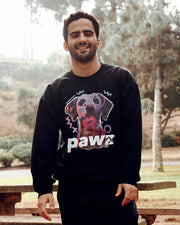 Pawz Men's Neon Sketch Dog Front Print Black Crewneck - Pawz