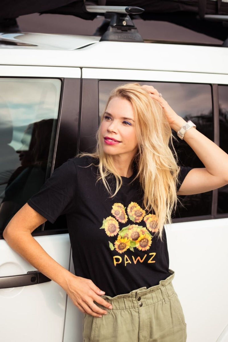 Pawz Sunflower Bouquet Front Print Black Tee
