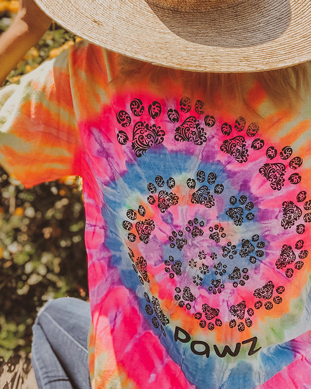 Sunshine Tie Dye Open Black Swirly Tee - Pawz