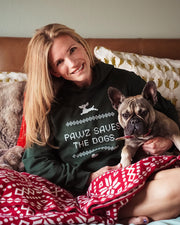 Pawz Holiday Sweater Print Forest Green Hoodie - Pawz